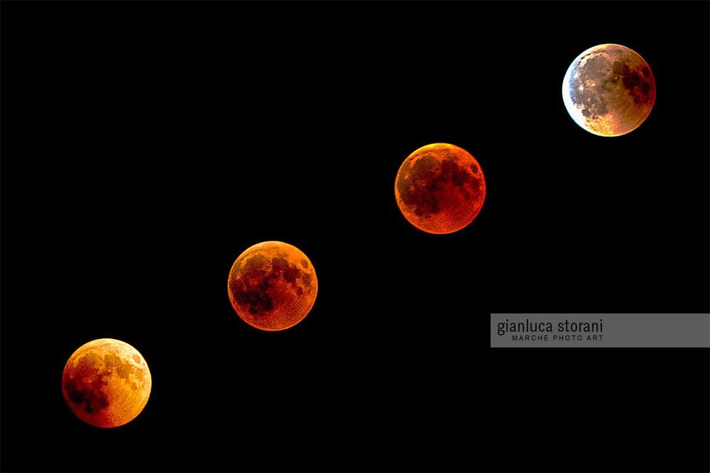 4 fasi di eclissi lunare - Gianluca Storani Photo Art (Cod. .5-3757)