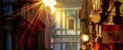 Corso della Repubblica di Macerata al tramonto